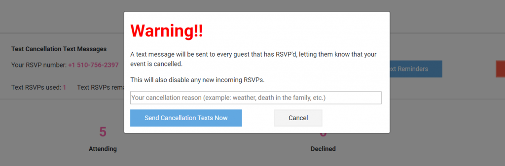 Cancel your event with text message notifications – Replied