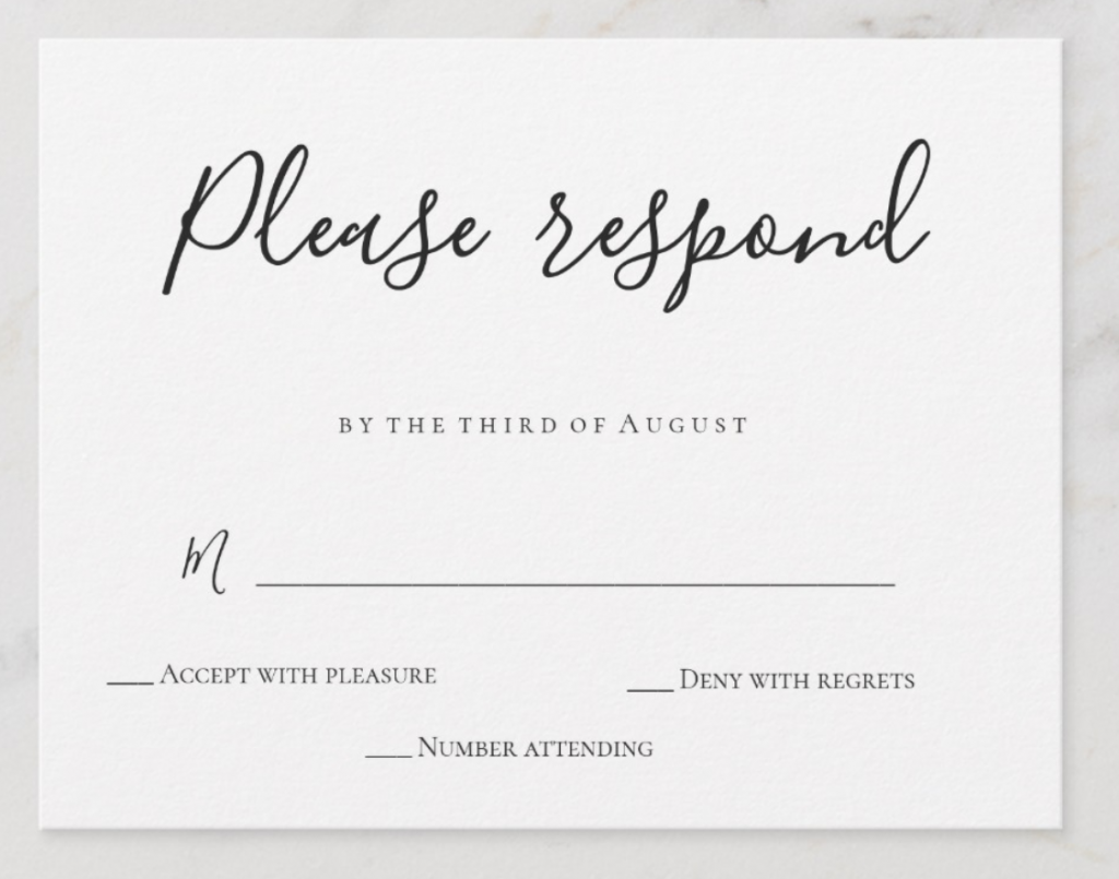 RSVP Example - black and white
