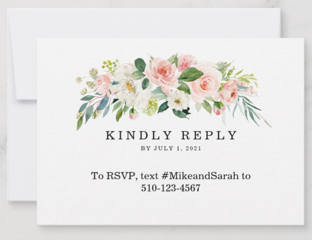 Zazzle RSVP Card Text Message
