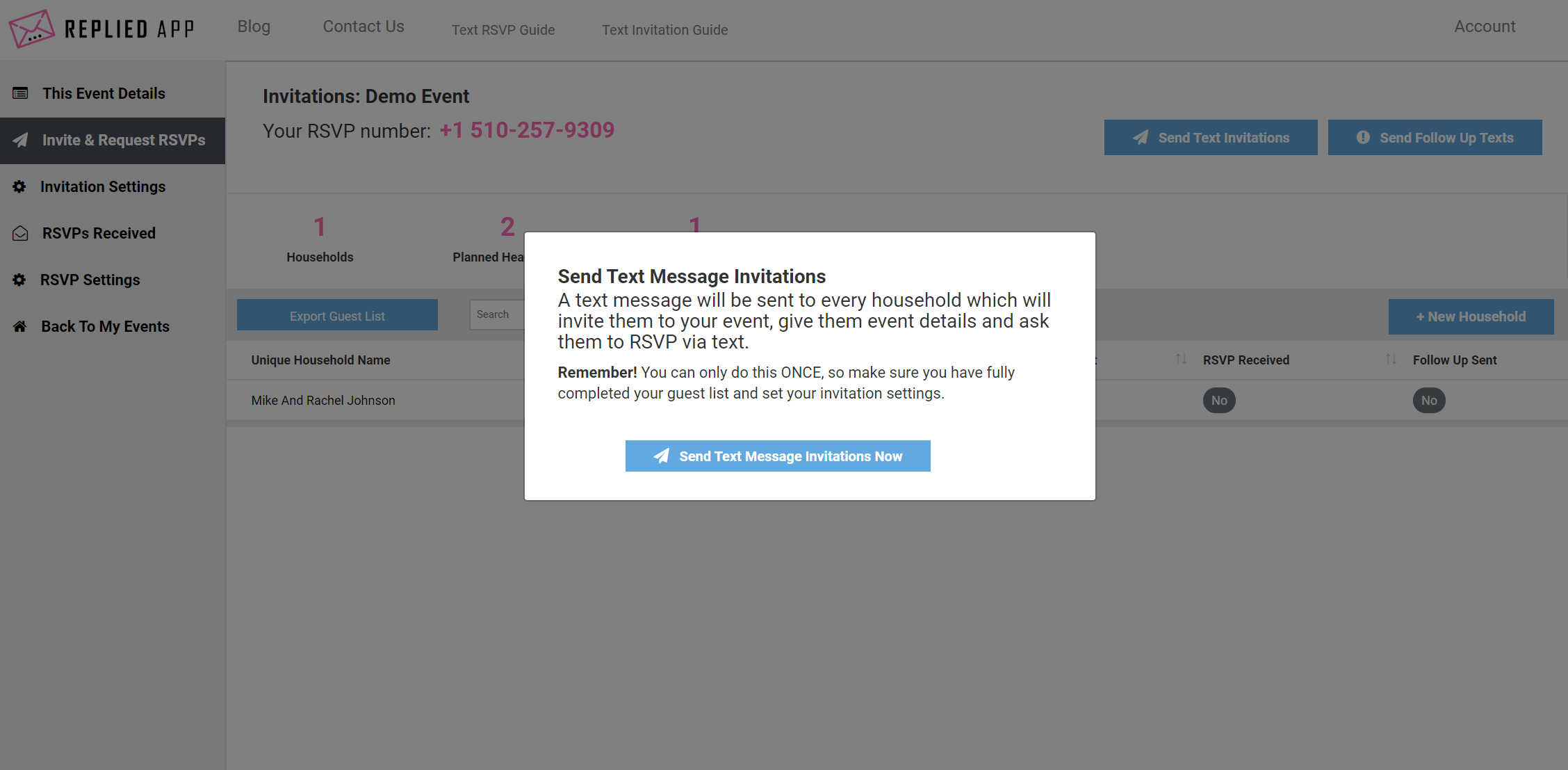 send text message invitations now
